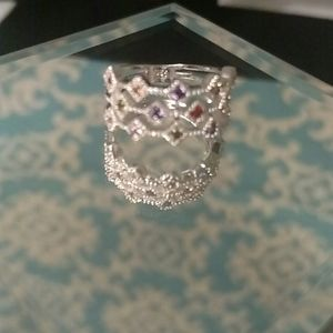 REAL 14 MULTICOLORED GEMS S925 RING - NEW